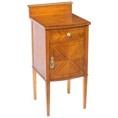 19th Century Victorian Satinwood Bowfront Bedside Cabinet