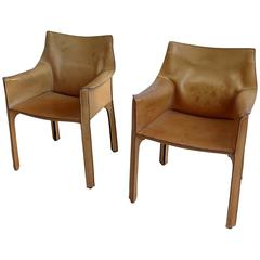Pair of Mario Bellini Cab Chairs in Natural Leather by Cassina Italy