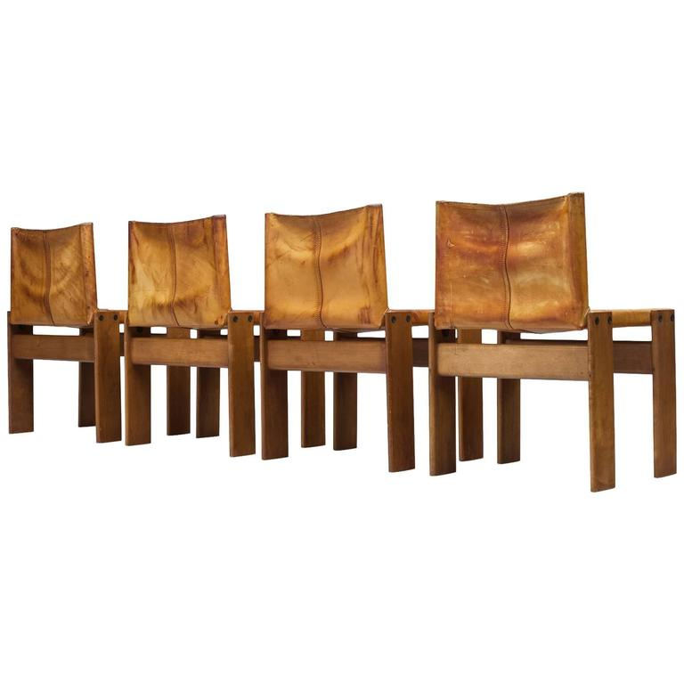 Scarpa Monk Chairs in Patinated Cognac Leather For Sale  sc 1 st  1stDibs & Scarpa Monk Chairs in Patinated Cognac Leather