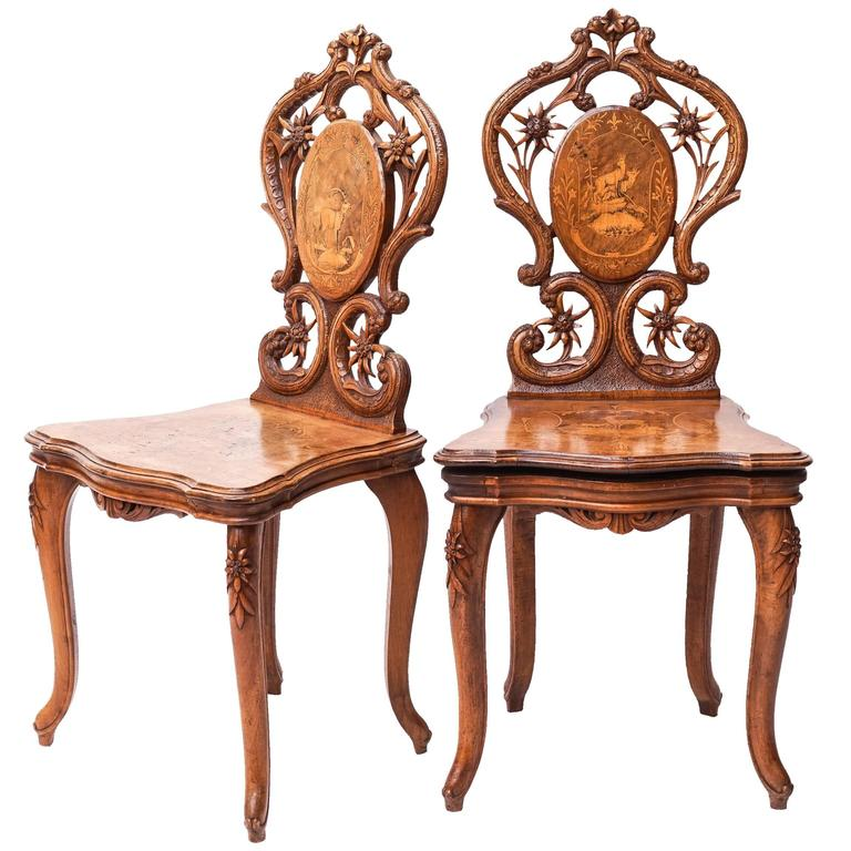 Set of Swiss Brienz Carved and Marquetry Walnut Chairs, 1900