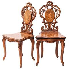 Set of Swiss Brienz Carved and Marquetry Walnut Sgabello Chairs, 1900