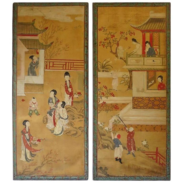 Pair of Chinese Panels Painted on paper Second Part, 19th Century