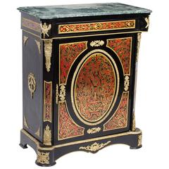 Fantastic Marble Topped Boulle Ebonized Pier Side Cabinet, Late 20th Century