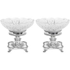 Pair of English Silver Plate and Cut-Glass Compotes