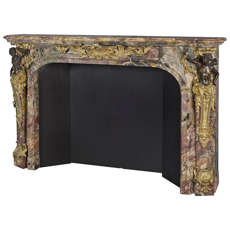 Louis XV Style Patinated Bronze-Mounted Marble Fireplace, French, circa 1860