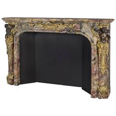 Louis XV Style Gilt and Patinated Bronze-Mounted Marble Fireplace