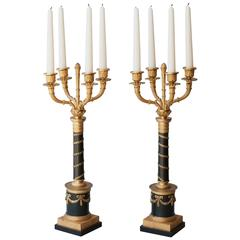 Pair of Louis Philippe Gilt and Patinated Bronze Four-Arm Candelabra