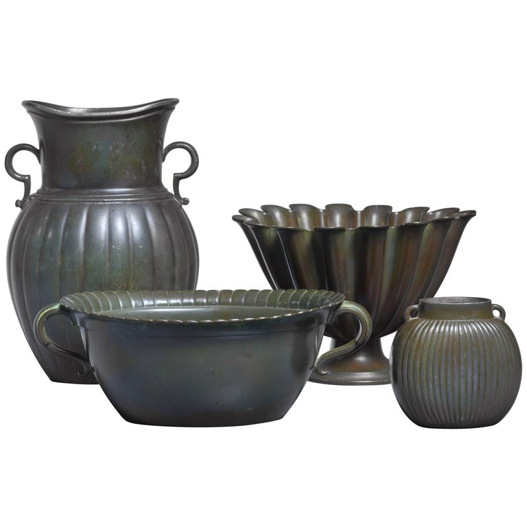 Just Andersen Set of Four Metal Pieces Denmark, 1930s For Sale