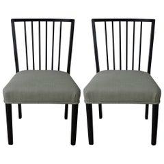 Mid-Century Ebonized Spindle Back Side Chair. ( One left )