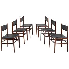 Set of Six Italian Rosewood and Leather Chairs