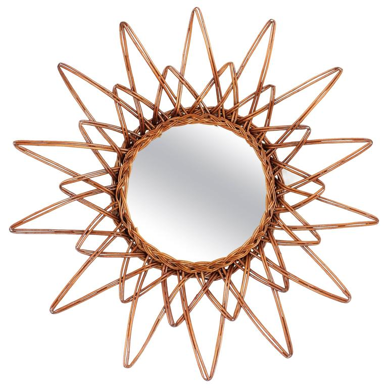 Spanish 1960s Handcrafted Rattan Starburst or Sunburst Wall Mirror For Sale