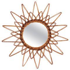 Spanish 1960s Handcrafted Rattan Starburst or Sunburst Wall Mirror