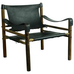 Midcentury 1960s Arne Norell Sirocco Black Leather Safari Chair