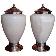 Huge Pair of Alabaster and Silver Plated Table Lamps Maison Pomone