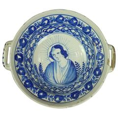 Antique Continental Soft Paste Hand-Painted Handled Bowl, Mother Mary