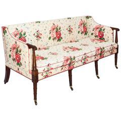 Fine George III Three Seater Mahogany Sofa Settee in Colefax & Fowler Chintz