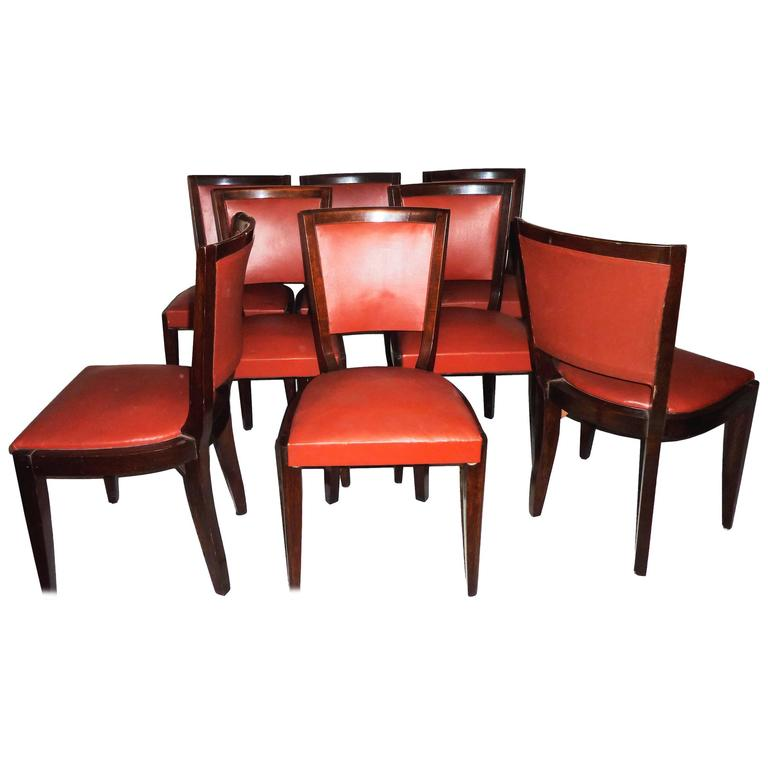 French Mid-Century Modern Set of Eight Dining Room Chairs, 1950s