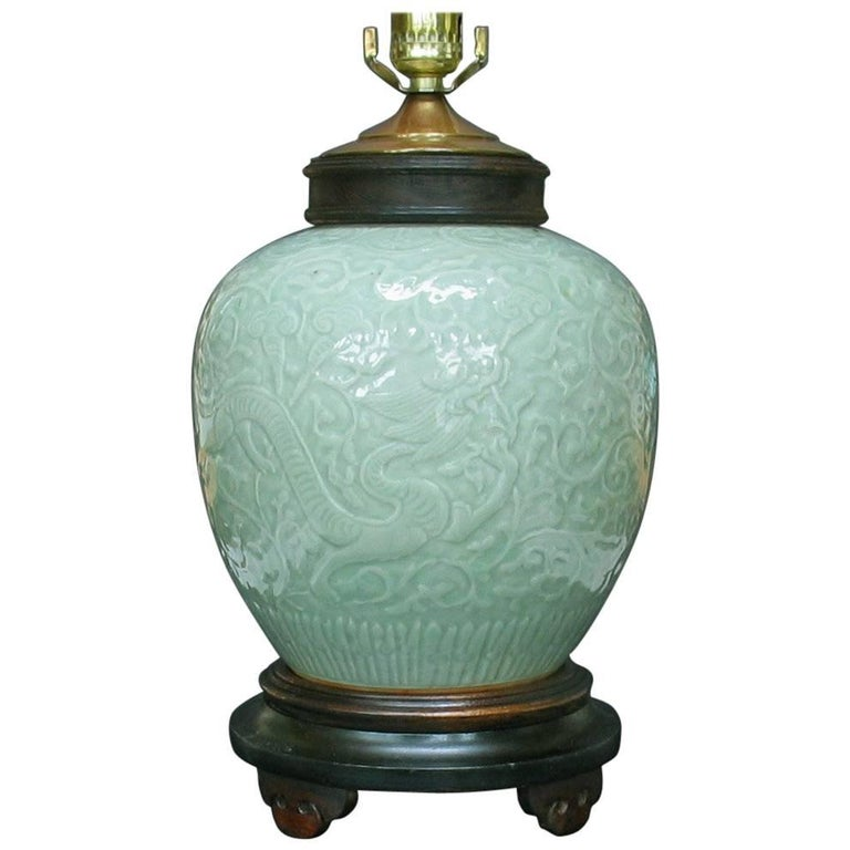 """Carved Celadon Glazed """"Dragon Jar"""" Lamp China, Late 19th Century For Sale"""