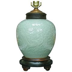 "Carved Celadon Glazed ""Dragon Jar"" Lamp China, Late 19th Century"