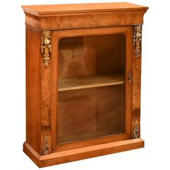 Antique Pier Cabinet, Victorian Burr Walnut, circa 1850