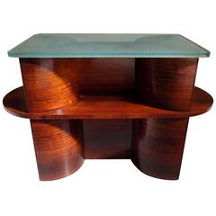 1930 Cubist Modernistic Console Table Rosewood and Thick Glass Top