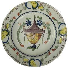 Antique Continental Polychrome Soft Paste Porcelain Charger, 18th Century