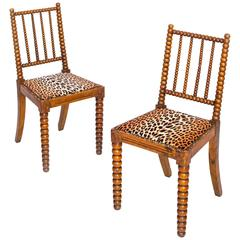 Quirky Pair of English 19th Century Bobbin Chairs in Colefax Leopard Velvet
