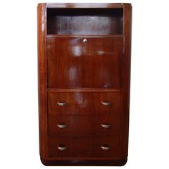 Art Deco Rosewood Secretaire with Three Drawers