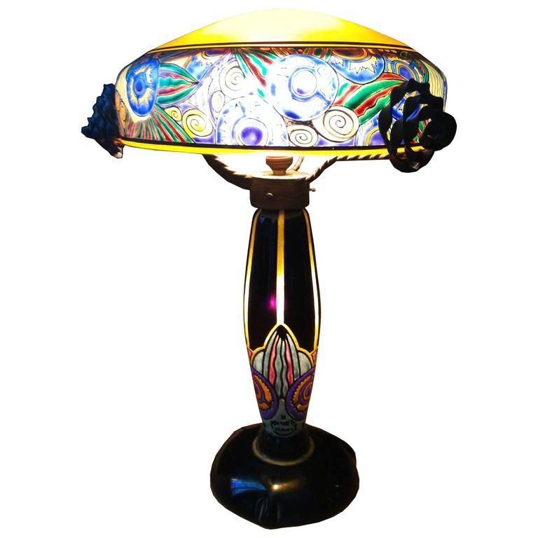 Fabulous French Art Nouveau Table Lamp Signed Delatte, Ecole de Nancy 1