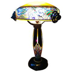 Fabulous French Art Nouveau Table Lamp Signed Delatte, Ecole de Nancy
