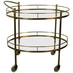 Brass and Glass Two-Tier Vintage Bar Cart