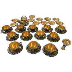 Jewel like Russian Cloisonne Enamel Tea Set