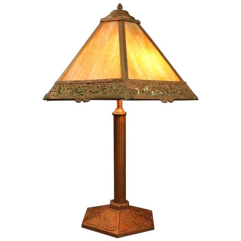 Antique Arts & Crafts Miller Co. Slag Glass Filigree Lamp, Countryside Scene 1