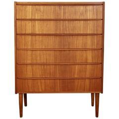 Danish Mid-Century Modern Teak Six-Drawer Dresser