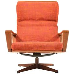 Arne Wahl Iversen Swivel Lounge Chair by Komfort Denmark, 1960s