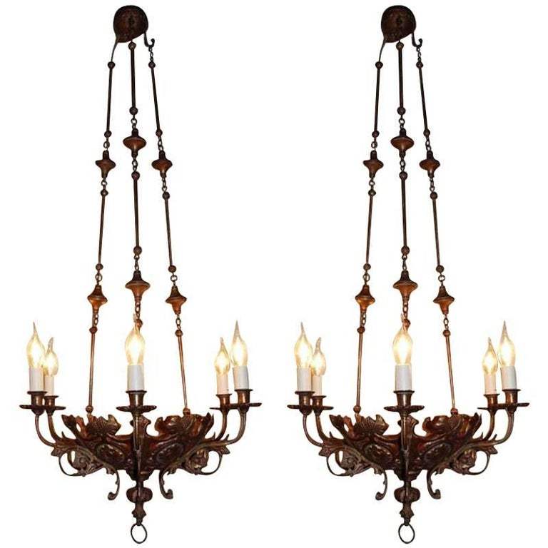 Pair of 19th Century Brass Chandeliers For Sale