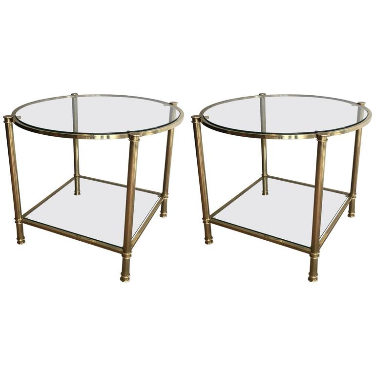 Pair of French Mid-Century Modern Brass and Clear Glass Side Tables
