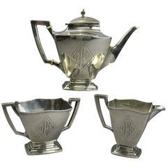 Antique Sterling Silver Empire Style Three-Piece Tea Set, circa 1920