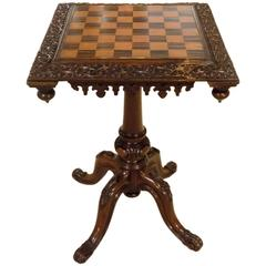 Oak, Rosewood and Satinwood Victorian Period Antique Chess Table