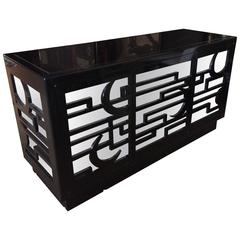 Very Impressive Large Black Lacquer and Mirrored Sideboard Credenza