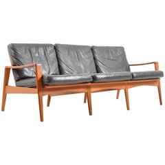 Mid Century Danish Teak Three-Seat Sofa by Arne Wahl Iversen for Komfort