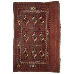Antique Yomut Turkmen Nine Gul Chuval with Good Colour Including Soft Greens
