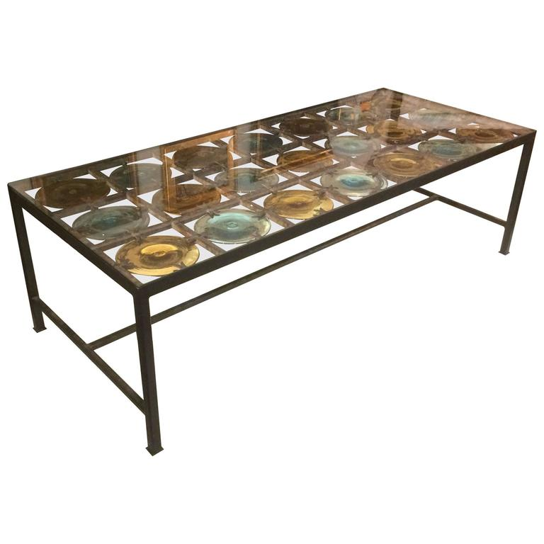 Spectacular Spanish Handblown Glass Coffee Table At 1stdibs