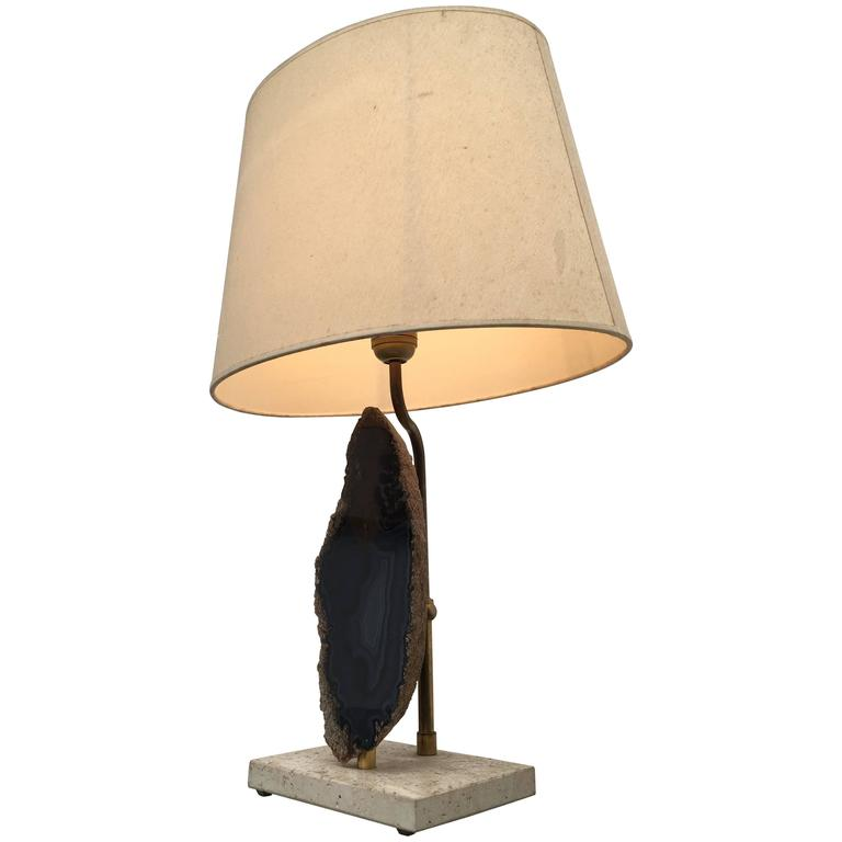 Belgian 1970s Table Lamp with Cut Agate Stone and Brass on Travertine Base