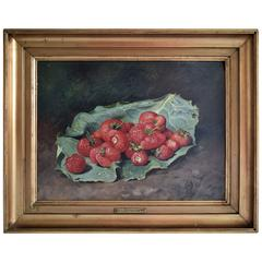 19th Century, Still Life with Strawberries by O.A. Hermansen, 1886