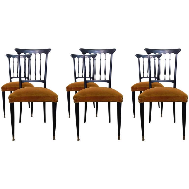 Set of Six Elegant Chiavari Chairs in Rosewood