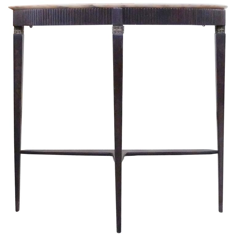 Slender italian demilune console table in mahogany with top in marble for sale at 1stdibs White demilune console table