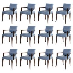 Set of 12 French Bridge Chairs, circa 1940
