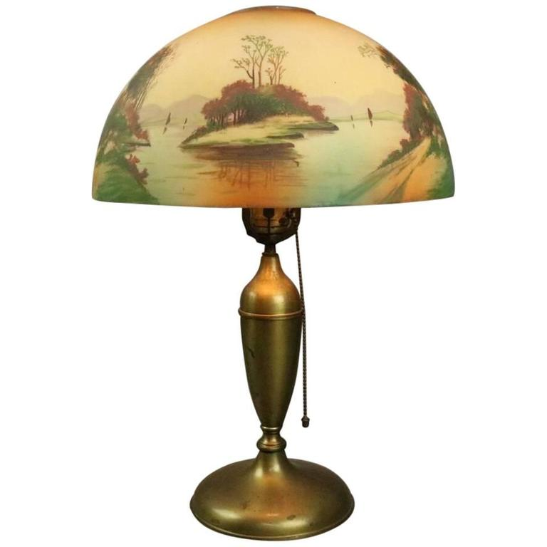 Antique Pittsburgh Brass and Obverse Painted Table Lamp, Lake Scene, circa 1920 For Sale
