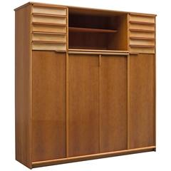 Cabinet in Leather and Italian Walnut